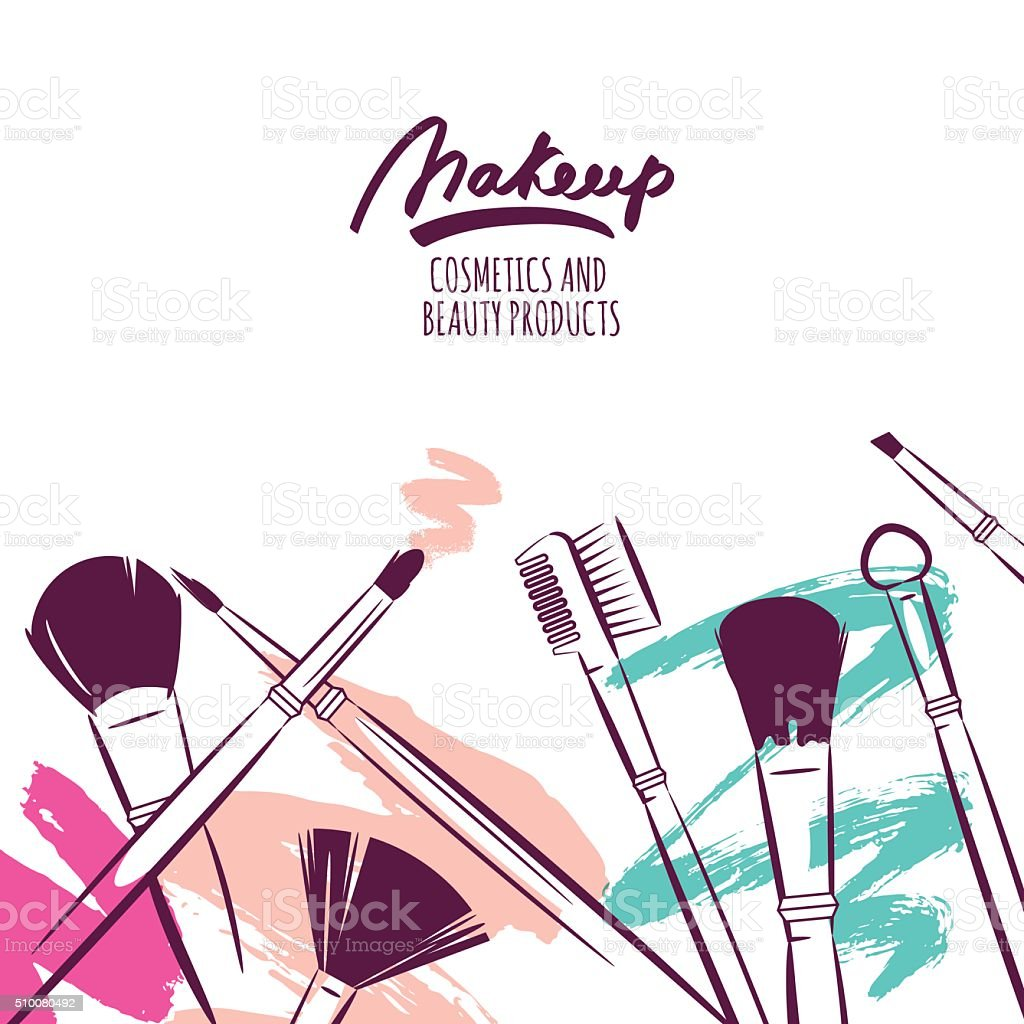 Watercolor hand drawn illustration of makeup brushes on colorful