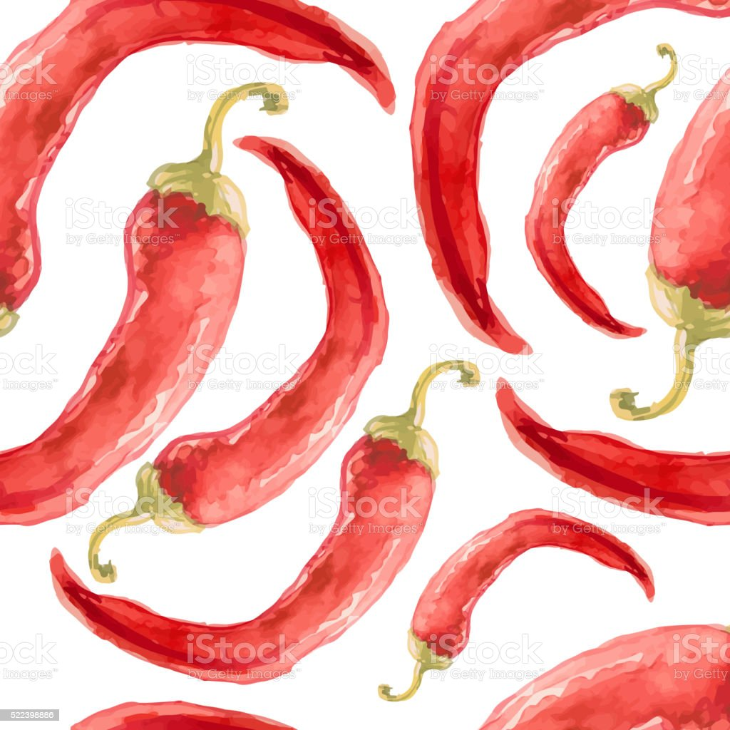 Watercolor hand drawn seamless pattern with red chilli pepper. vector art illustration
