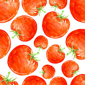 Watercolor hand drawn seamless pattern with red ripe tomatoes. Vector eco food illustration.