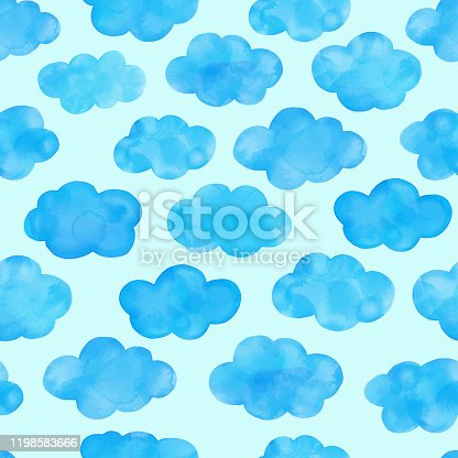 istock Watercolor hand painted blue clouds seamless pattern. Cute background for baby shower invitation, greeting card, banner, poster, tag, label. 1198583666