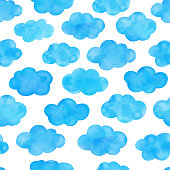 Watercolor hand painted blue clouds seamless pattern. Cute background for baby shower invitation, greeting card, banner, poster, tag, label.