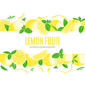 Watercolor Hand Painted Lemons and Fresh Mint Leaves Isolated on White Background. Spring, Summer Concept Background.