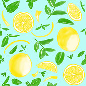 Watercolor Hand Painted Lemons and Fresh Mint Leaves Seamless Pattern. Spring, Summer Concept Background.