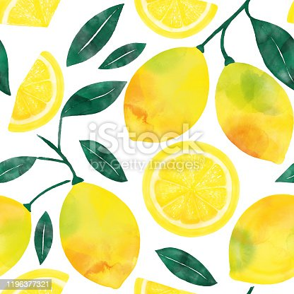 Watercolor Hand Painted Lemons and Lemon Slices Seamless Pattern. Spring, Summer Concept Background.
