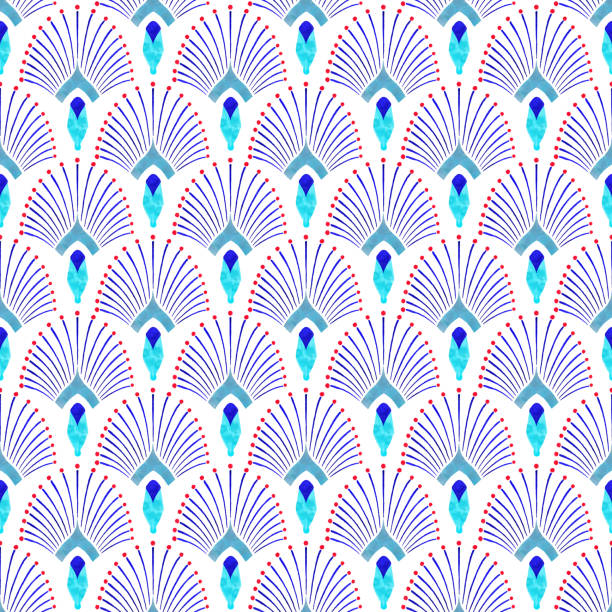 Watercolor Hand Painted Navy Blue and Turquoise Tile. Art Deco Vector Seamless Pattern, Lisbon Arabic Floral Mosaic, Mediterranean Seamless Navy Blue and Turquoise Ornament. Watercolor Hand Painted Navy Blue Tile. Art Deco Vector Seamless Pattern, Lisbon Arabic Floral Mosaic, Mediterranean Seamless Navy Blue and Turquoise Ornament. ancient egyptian culture stock illustrations