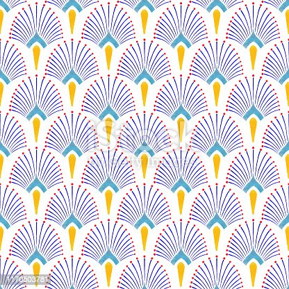 Watercolor Hand Painted Navy Blue and Yellow Tile. Art Deco Vector Seamless Pattern, Lisbon Arabic Floral Mosaic, Mediterranean Seamless Navy Blue and Yellow Ornament.