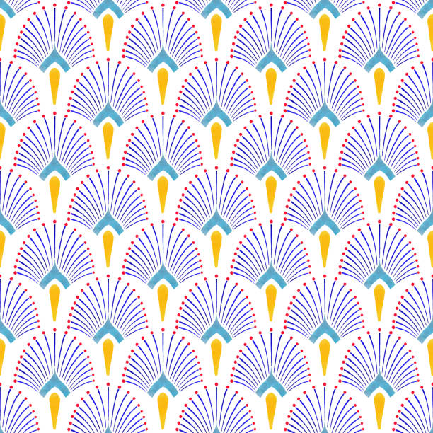 Watercolor Hand Painted Navy Blue and Yellow Tile. Art Deco Vector Seamless Pattern, Lisbon Arabic Floral Mosaic, Mediterranean Seamless Navy Blue and Yellow Ornament. Watercolor Hand Painted Navy Blue and Yellow Tile. Art Deco Vector Seamless Pattern, Lisbon Arabic Floral Mosaic, Mediterranean Seamless Navy Blue and Yellow Ornament. egyptian culture stock illustrations