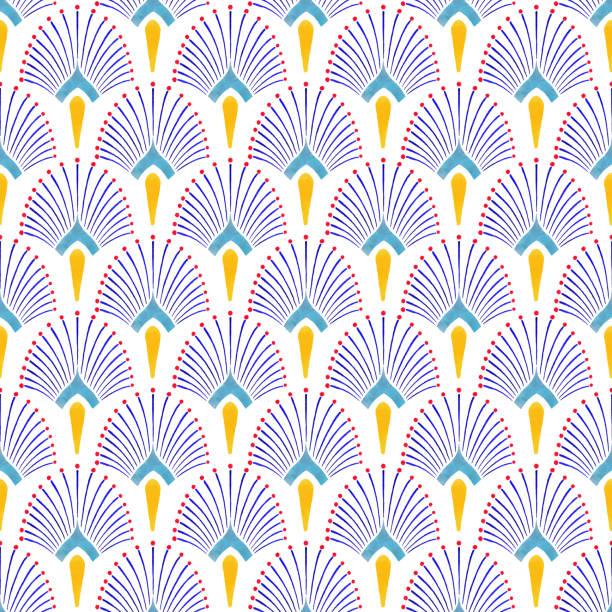 ilustrações de stock, clip art, desenhos animados e ícones de watercolor hand painted navy blue and yellow tile. art deco vector seamless pattern, lisbon arabic floral mosaic, mediterranean seamless navy blue and yellow ornament. - mosaicos flores