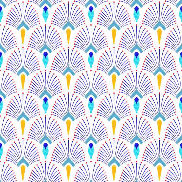 aquarell von hand bemalt marine blau und gelb fliesen. art-deco-vektor nahtlose muster, lissabon arabischen blumenmosaik, mediterrane nahtlose marine blau und gelb ornament. - avantgarde stock-grafiken, -clipart, -cartoons und -symbole
