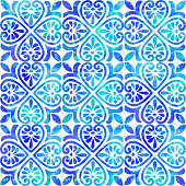 Watercolor Hand Painted Navy Blue Tile. Seamless Moroccan Ceramic Pattern. Vector tile pattern, Lisbon Arabic Floral Mosaic, Mediterranean Seamless Navy Blue Ornament.