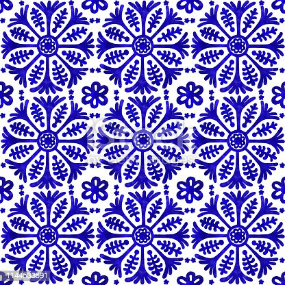 Watercolor Hand Painted Navy Blue Tile. Vector tile pattern, Lisbon Arabic Floral Mosaic, Mediterranean Seamless Navy Blue Ornament