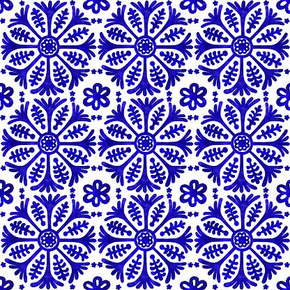 Watercolor Hand Painted Navy Blue Tile. Vector tile pattern, Lisbon Arabic Floral Mosaic, Mediterranean Seamless Navy Blue Ornament