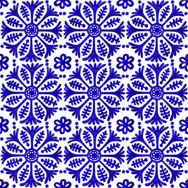 akwarela ręcznie malowane granatowy płytki. wzór płytek wektorowych, mozaika z arabskiego kwiatu lizbony, śródziemnomorska błękitna ozdoba z bezszwową granatową - kultura portugalska stock illustrations