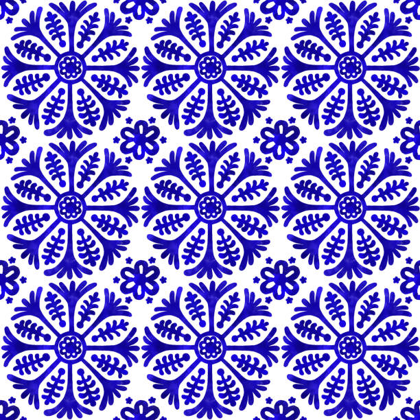 watercolor hand painted navy blue tile. vector tile pattern, lisbon arabic floral mosaic, mediterranean seamless navy blue ornament - wyrób ceramiczny stock illustrations