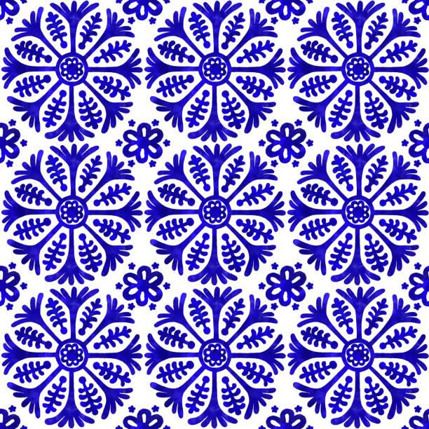 ilustrações de stock, clip art, desenhos animados e ícones de watercolor hand painted navy blue tile. vector tile pattern, lisbon arabic floral mosaic, mediterranean seamless navy blue ornament - mosaicos flores