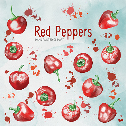 Watercolor Hand Painted Whole Red Bell Peppers Isolated on Textured Paper with Red Paint Splashes. Clip Art. Design Element for Menu Cards and Labels, Abstract Food Background Template.