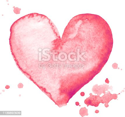 Watercolor hand-painting pink heart shape on white background. Eps8. RGB. Global colors