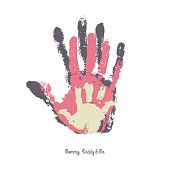 Watercolor handprint of family.