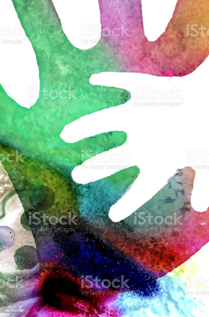 Watercolor Hands Illustration vector art illustration