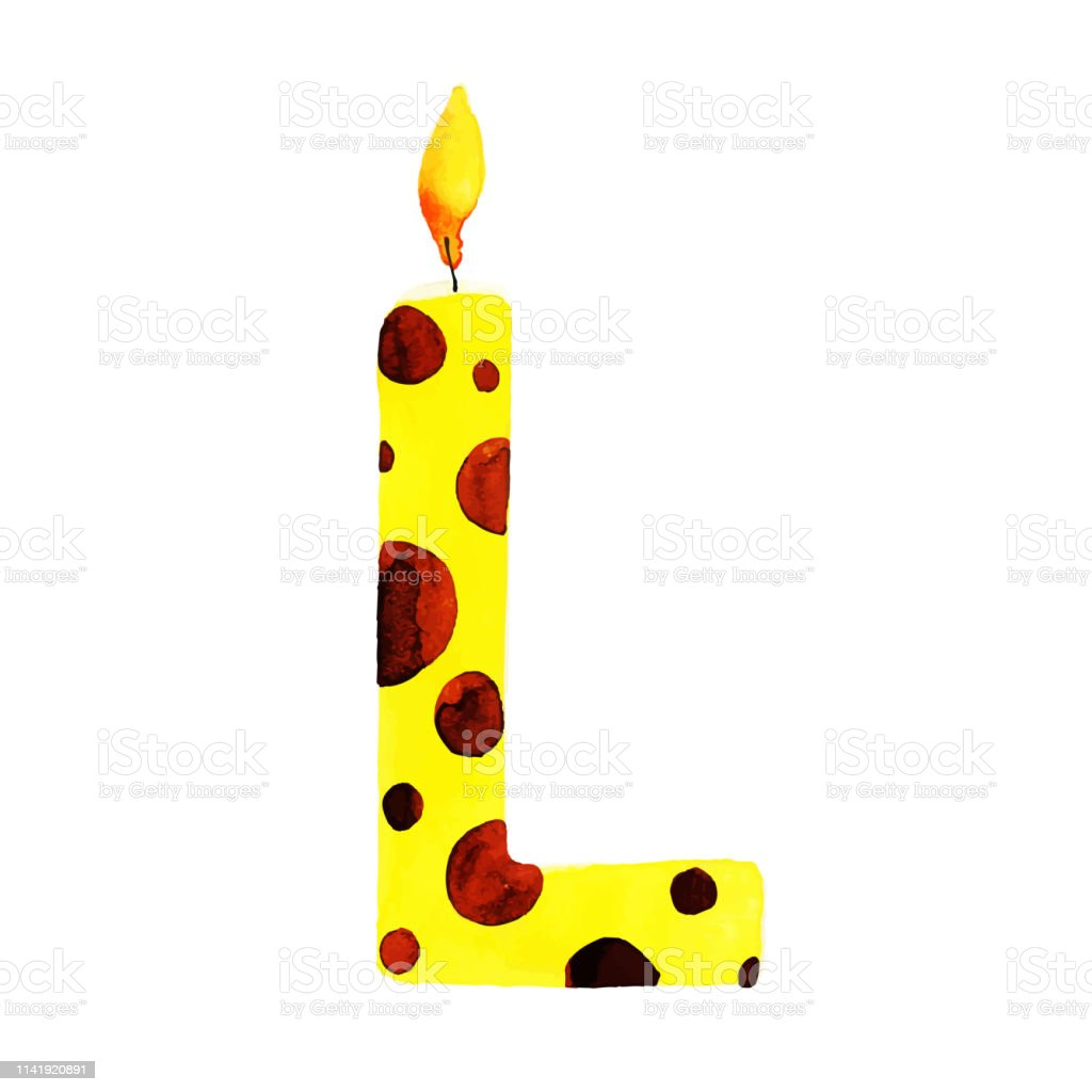 Watercolor Happy Birthday Letter W Candle