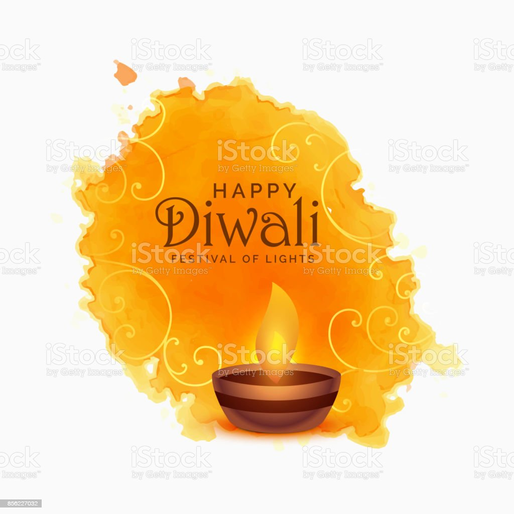 watercolor happy diwali festival background vector art illustration