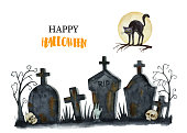 Watercolor Happy Halloween card isolated on a white background. Hand painted vector illustration with  graveyard, black cat, moon, zombie hand rising and skulls. Place for your text.