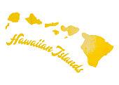 Watercolor Hawaiin Islands