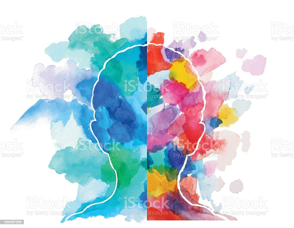 watercolor head logical vs creative thinking stock vector