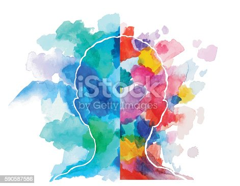 Abstract vector watercolor drawing of a child head showing logical and creative thinking.