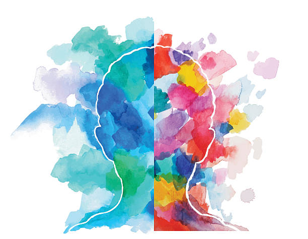 watercolor head logical vs creative thinking - intelligence stock illustrations