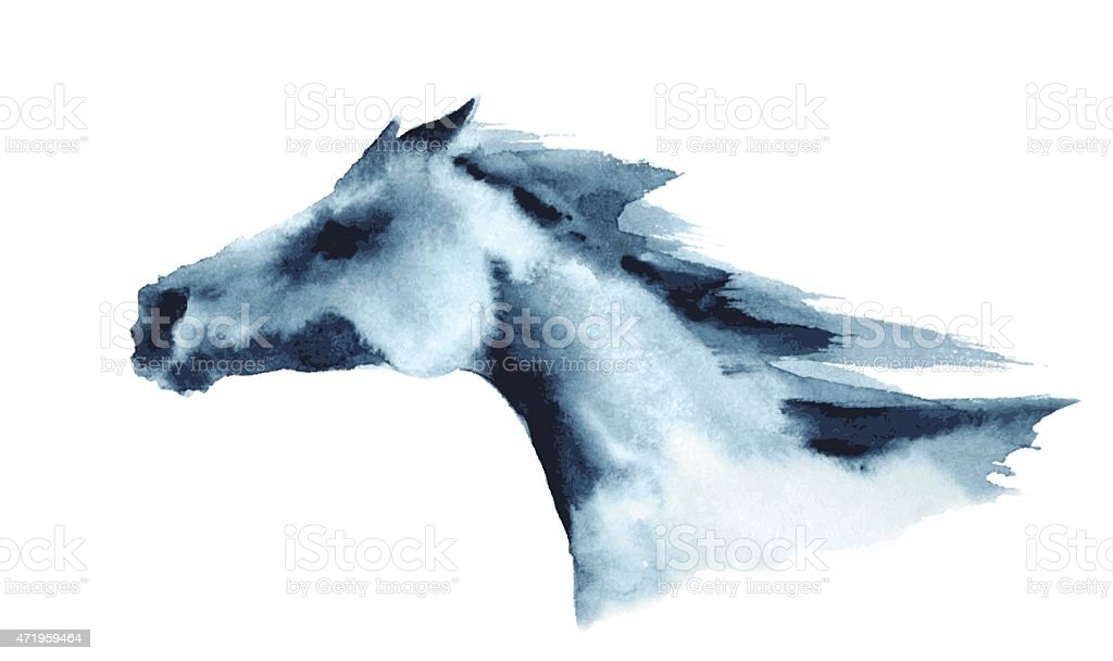 Watercolor head of galloping horse vector art illustration