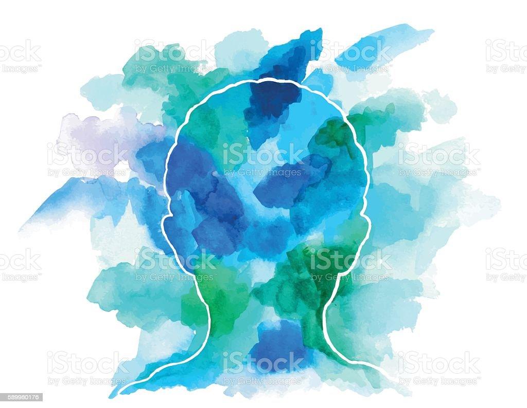 Watercolor Head vector art illustration