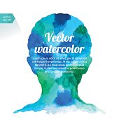 Abstract vector watercolor drawing of a head. Background white and head elements are separated on different layers.