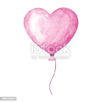 istock Watercolor Heart Balloon 669458934