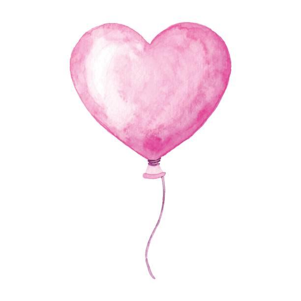aquarell herzballon - liebesbild stock-grafiken, -clipart, -cartoons und -symbole