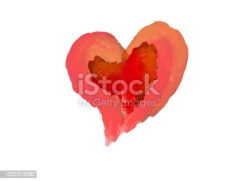 Watercolor heart editable vector