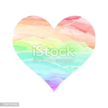 Watercolor heart multicolored love symbol