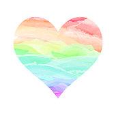 Watercolor heart multicolored love symbol