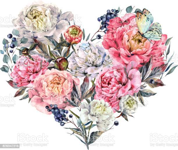 Watercolor heart made of peonies and lilac vector id826342316?b=1&k=6&m=826342316&s=612x612&h=nxzq4gcyg9e1cr0tisnlf8wyyqzctmvs5i24hpqgkpq=