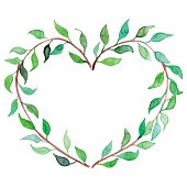 Watercolor heart shaped plant branch wreath isolated vector