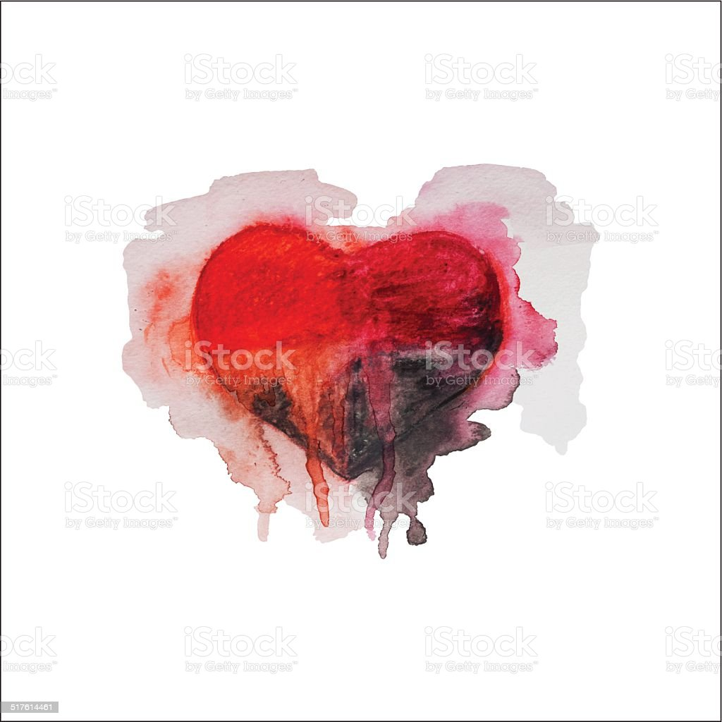 Watercolor heart vector art illustration