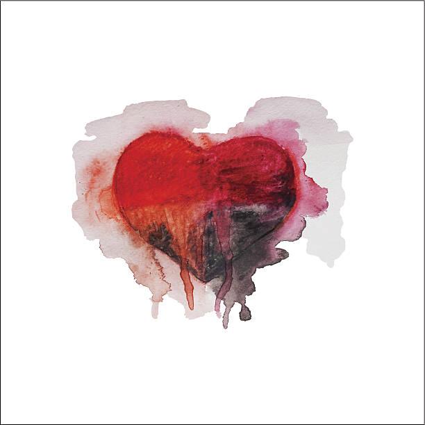 stockillustraties, clipart, cartoons en iconen met watercolor heart - liefdesverdriet