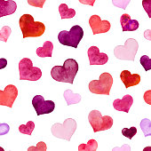 Watercolor hearts for St. Valentine s Day. Vector illustration. Seamless pattern, background with hearts.