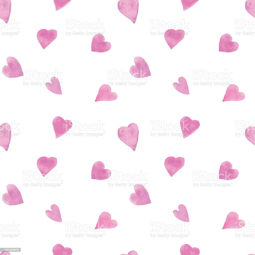 Watercolor hearts seamless background vector art illustration