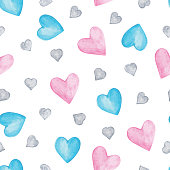 Watercolor Hearts seamless pattern. Love. Valentine's Day background. Watercolor drawing handmade - vector