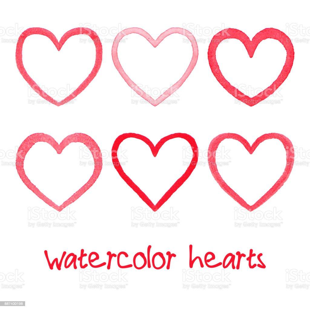 Watercolor hearts set vector art illustration