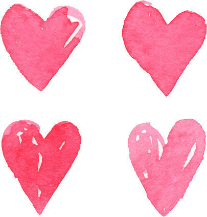 painted style valentine's day heart love symbol design element