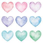 istock Watercolor Hearts 1318407947