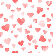 watercolor hearts. vector seamless pattern. valentines background