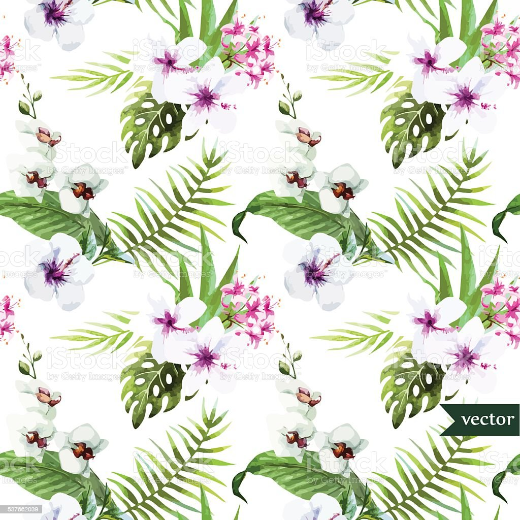 Watercolor, Hibiscus, Orchid, White, Palm, Tropical, Pattern, Background,